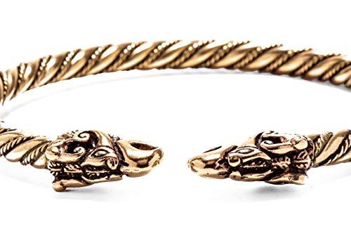 WINDALF Großer Handmade Männer Armreif DRACON Ø 6.8 cm Wikinger Drachen Ethno Design Freundschaftsarmband Bronze