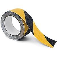 Relaxdays-Cinta adhesiva antideslizante, rollo de 50mm con 5m, como antideslizante combinado para escaleras en interiores y exteriores, color negro y amarillo