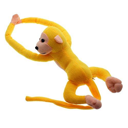 VANKER 60cm Gibbon brazo largo de la cola del mono Animales de precioso suaves cortinas que cuelgan de la felpa del juguete--Amarillo