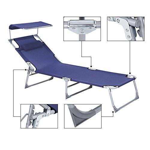 SONGMICS Sonnenliege mit Sonnendach extra groß, verstellbar, Liegestuhl klappbar mit Kopfkissen ,max. Belastbarkeit: 250 kg Grau 210 x 72 x 34 cm (Blau) - 4