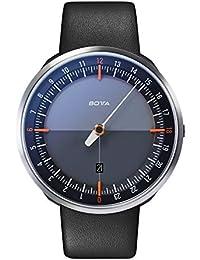 Botta Diseño de uno 24Plus Negro de naranja reloj de pulsera–24H einzeiger Reloj, acero inoxidable, cristal de zafiro antirreflejos, correa de piel