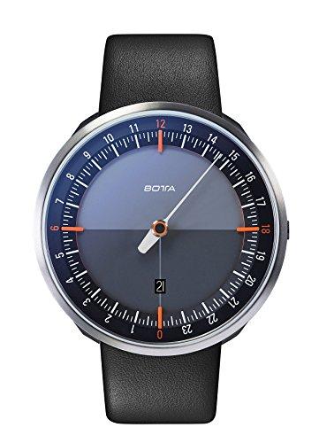 Botta-Design UNO 24 Plus Orange Quarz Armbanduhr - 24H Einzeigeruhr, Edelstahl, Saphirglas...