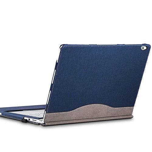 Laptop Hülle für das Surface Book 2,Premium PU-Leder Hülle, 15 Zoll, lösbare magnetische Halterung, 2-Wege Nutzung,Blau