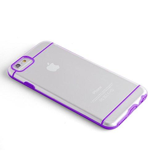 JAMMYLIZARD   Aluminium Bumper Hülle für [ iPhone 6 4.7 Zoll ], BLAU Umrandung in LILA