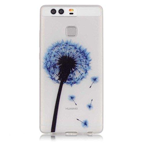 BoxTii Cover in TPU per iPhone 6S/iPhone 6 con protezione per lo schermo in vetro temperato, luminosa di notte, ultra sottile, morbida, antigraffio, antiurto, design: dente di leone, PLASTICA, #3 Blue #1 Dandelion