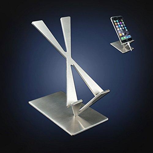 """ArtsOnDesk Arte Moderno Soporte de Teléfono Móvil St204 Acero Inoxidable Acabado Satinado Pendiente de Patente-- Soporte iPhone Samsung Cualquier SmartPhone de Gama Alta iPad Mini Kindle 6"""" Recipiente Estuche Regalo de Navidad Regalo de Cumpleaños"""