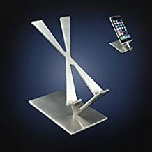 ArtsOnDesk Modern Art Desk iPhone Stand St204 Stainless Steel Satin Finish Patent Registered-Specially Designed for iPhone 8/8 plus/x/7/7 plus, Google Pixel Samsung Galaxy Ipad Tablet Holder Gift
