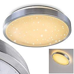 LED Deckenleuchte Sora STAR, runde Deckenlampe mit Sternenhimmel-Effekt aus Metall in Aluminium gebürstet, 12 Watt, Lichtfarbe 3000 Kelvin (warmweiß), IP 44, auch für das Badezimmer geeignet