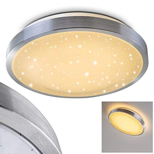 Bad-Lampe Sora Star aus gebürstetem Aluminium - Warmweißes LED-Licht mit 900 Lumen und 12 Watt für die Decke mit Sternendekor - Badezimmer-Beleuchtung im modernen Design