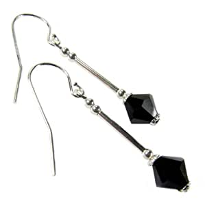 Jet Black Crystal Diamond Long Drop Earrings with Sterling Silver Ear Wires made with Swarovski Elements by Diosa Jewellery