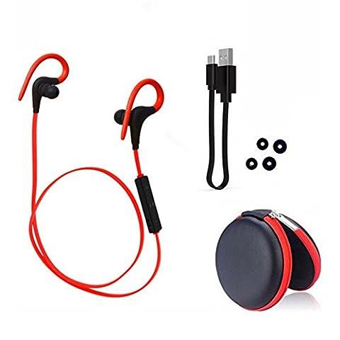 Balai Bluetooth Kopfhörer 4.1 In Ear Ohrhörer Stereo mit Mikrofon, Wasserschutz für iPhone 7 7 Plus iPhone 6 6S 6 Plus 6S Plus 5S 5 5C 4S 4, Galaxy S6 S6 Edge S5 S4 Mini Rot