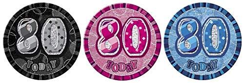 NANA'S PARTY Glitz Anstecknadel, 15 cm, 3 Farben, Pink Glitz, 80th Birthday/Age 80
