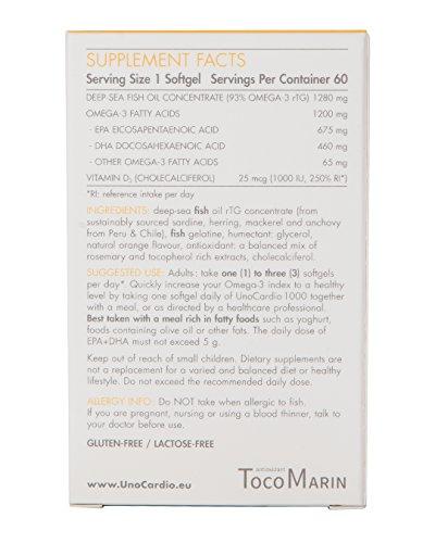 UnoCardio 1000 + Vitamin D 1000, 60 Softgels