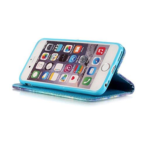 Creative 3D Désign Etui Housse pour Apple iPhone 7 (4.7 pouces), HB-Int 3 en 1 PU Cuir Wallet Skin Swag Coque Case Cover Plume Oiseau Originale Motif Coque avec Lanyard Protection Protecteur D'écran B Papillon Or