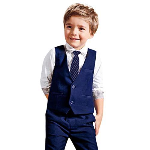 feiXIANG® Abbigliamento Bambino e Ragazzi, 4PCS Bambini Ragazzi a Maniche Lunghe Camicia Gentleman + Cravatta + Gilet + Pantaloni Set Camicia per Bambini a Manica Lunga Tops