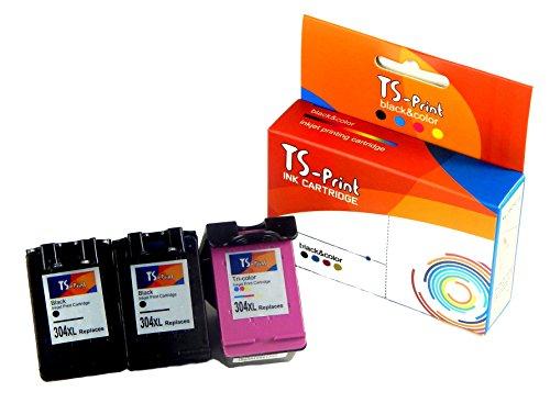 Preisvergleich Produktbild TS-Print® Set mit 3 Tintenpatronen kompatibel zu HP 304XL 2x je 18ml black ~1200 S. + 15ml color ~500 S. Deskjet 2620 2630 3700 3720 3730 3732 3735 Envy 5020 5030 5032 mit Füllstandanzeige