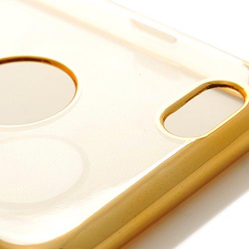 iProtect Apple iPhone 6 6s TPU Case Schutzhülle Transparent mit Ränder in Lila Hardcase Transparent Gold