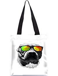 Snoogg Dog With Glares Designer Poly Canvas Fashion Printed Shopping Shoulder Lunch Tote Bag For Women