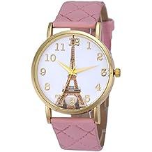 Vovotrade París Torre Eiffel Mujeres Diseñador De Cuero De Faux Reloj De Cuarzo De Cuarzo Analógico (Rosa)