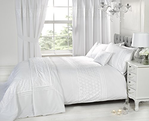 Bedding Heaven. Beautifully embroidered EVERDEAN Duvet Cover. Pink or Grey. Single, Double, King Size. (Single, White)