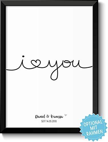 I LOVE YOU - personalisierbare Liebeserklärung – Rahmen optional – Geschenk Geschenkidee Valentinstag Geburtstag Jahrestag Hochzeitstag Hochzeit Männer & Frauen