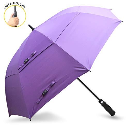 ZOMAKE Golf Regenschirm, Premium Qualität, 157cm Groß, Sturmsicher, Automatik - Automatisch zu öffnen, Regen- und Windresistent Golfschirme(Lila)