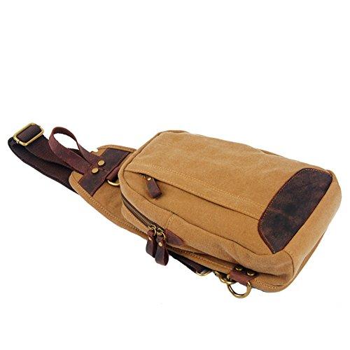 GSPStyle Unisex Canvas Leder Brusttasche Herrentasche Freizeittasche Reißverschluss Schultertasche Sporttasche Braun