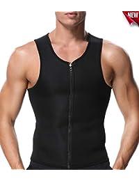 SLIMBELLE Homme Sauna Costume Taille Veste Formateur Gilet d entraînement  débardeur Sweat Corps façonneur Zip 0ae820ba390
