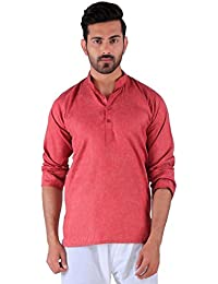 BDS Chikan Cotton Maroon Kurta for men's Lucknowi Chikan Work - BDS00911