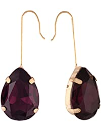 AccessHer Gold Plated Purple Teardrop Dangler Earrings For Women And Girls