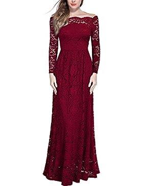 MIUSOL Vintage Donna Pizzo Vestito Lunge Abito Da Cerimonia