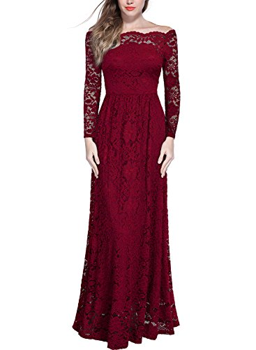 Miusol Schulterfrei Spitzen Langes Abendkleid Party Langarm Brautjungfer Damen Kleid Weinrot XL