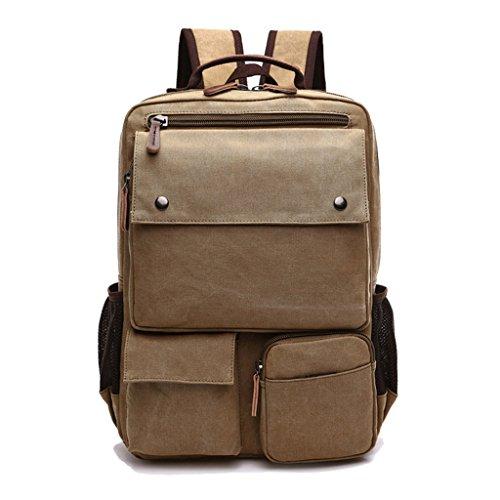 Zaino moderno in tela per laptop/Scuola/escursionismo/attività allaria aperta, Uomo, Green cachi