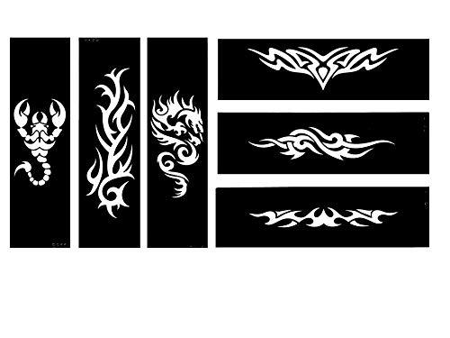 Tribal drago scorpione tattoo stencil modelli 6sheet set 2