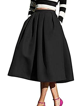 Yonglan Mujeres Color Solido Vintage Falda Plisada A-Line Con Bolsillos Faldas Larga