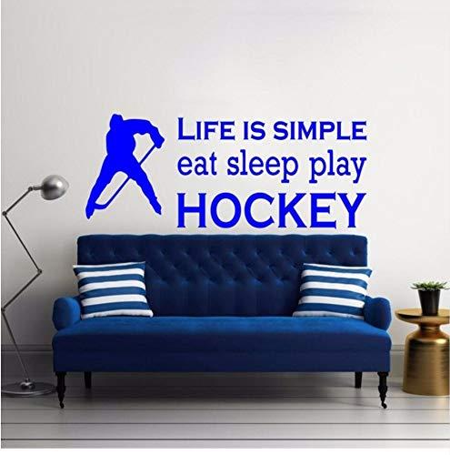 Zxfcczxf Sport Essen Schlaf Spielen Hockey Zitate Wandtattoo Kinderzimmer Wohnzimmer Kunst Vinyl Wandkunst Aufkleber Decpr Wandbild42 * 114 Cm