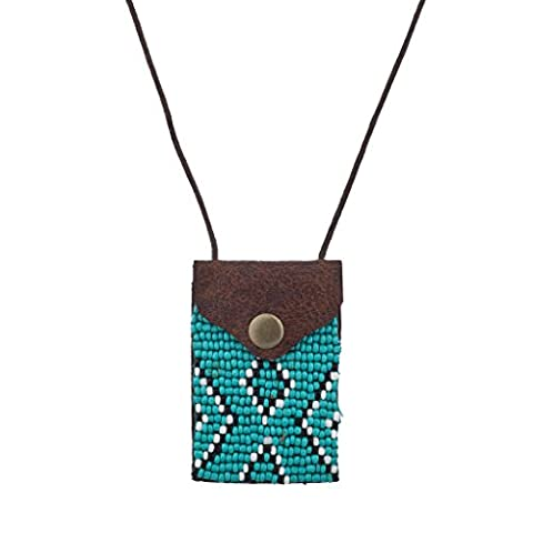 Lux Accessories Tribal Brown Turq Black White Seed Bead Pouch Pocket Necklace - Tribal Pouch