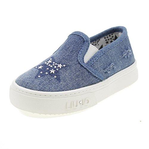 LIU-JO GIRL Scarpe Slip On Jeans con Stelle Bimba L1A400078 Blu Taglia: 25