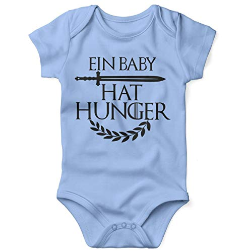Mikalino Babybody mit Spruch für Jungen Mädchen Unisex Kurzarm EIN Baby hat Hunger | handbedruckt in Deutschland | Handmade with Love, Farbe:Sky, Grösse:56