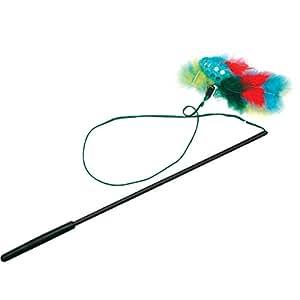 Jouet canne à pêche plumes pour chat