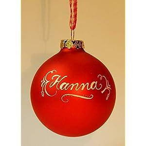 Weihnachtskugel mit Namen Rot matt, Design Neo-Klassik in Geschenkverpackung mit Sichtfenster