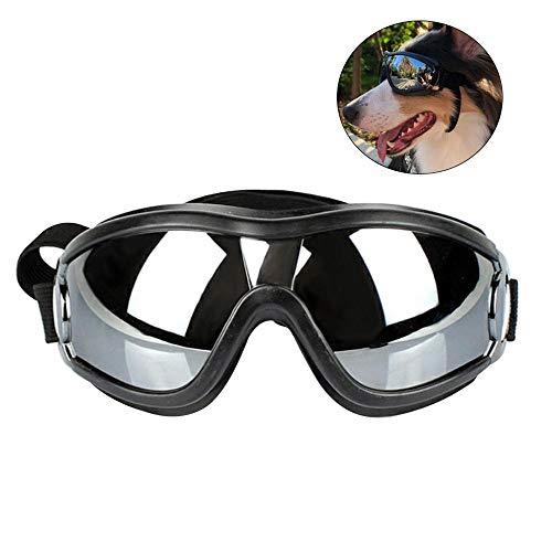 LAYOPO Hunde-Brille, stylische Sonnenbrille, UV-Schutz, wasserdicht, Haustier-Sonnenbrille mit verstellbarem Gurt, für mittelgroße bis große Hunde, Schwarz