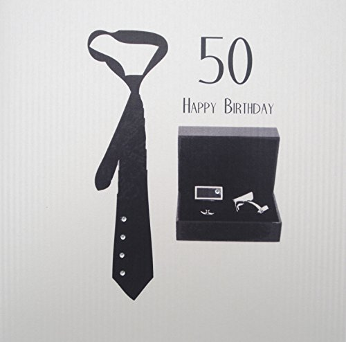 WHITE COTTON CARDS Men', handgefertigt, groß, zum 50. Geburtstags-Karte (80th Birthday Card)