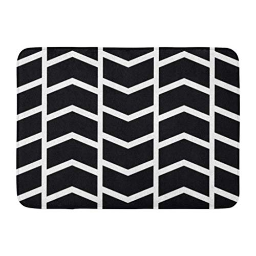 JIILWKIE Doormats Bath Rugs Outdoor/Indoor Door Mat Pattern Chevron Patterned Black and White Abstract Chic Color Cool Bathroom Decor Rug 23.6x15.7 inch 7 Color Twin Pack