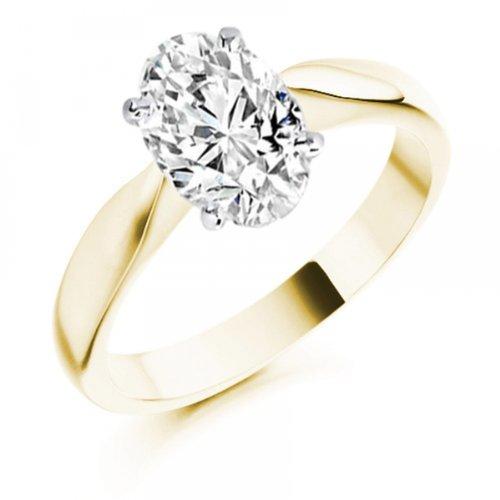 Diamond Manufacturers, Damen, Verlobungsring mit 0.25 Karat F/VVS1 feinem und zertifiziertem Ovaldiamant in 18k Gelbgold, Gr. 41 - 2