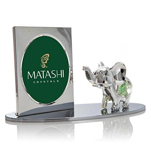 Argento placcato cornice con cristalli, cartoon figurine su una base di Matashi®, Elephant