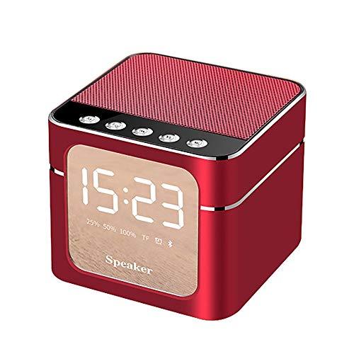 CAOQAO Q5 Mini Haut-Parleur sans Fil DéCor Style RéTro Enceinte Bluetooth Portable Haut-Parleur TF RéVeil Audio, Cannon Portatif Portable pour IPhone, IPad, IPod, Mac, Smartphones, Tablets,Rouge