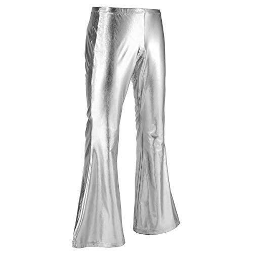 iiniim Pantalones Largos Cuero Hombre Pantalones Brillo Metálico Pantalón Campana de Moda Disco Club Fiesta Pantalones de Danza Baile Elástica Retro Pantalones de Pierna Ancha Plateado X-Large