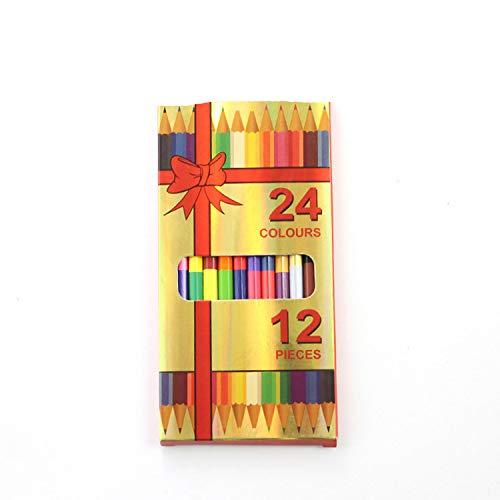 Lot de 12 à double crayon de couleur (24 couleurs) Art Ensemble de crayon Kid Couleur des outils de dessin d'école Fournitures de bureau taille unique 1 Box