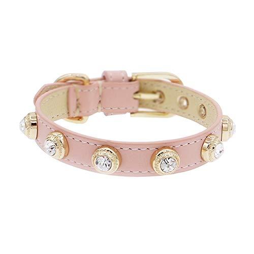 GWM Rosa Echtleder Katze Halsbänder mit Bling Crystal und Sicherheit Schnalle weich und verstellbar für Mädchen Katzen, Welpen, kleine Hunde 7,9
